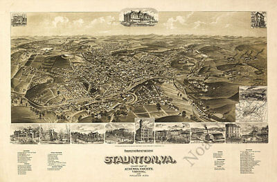 Perspective map of the city of Staunton Virginia c1891 36x24