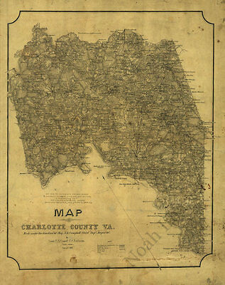 Map of Charlotte County Virginia c1864 24x30