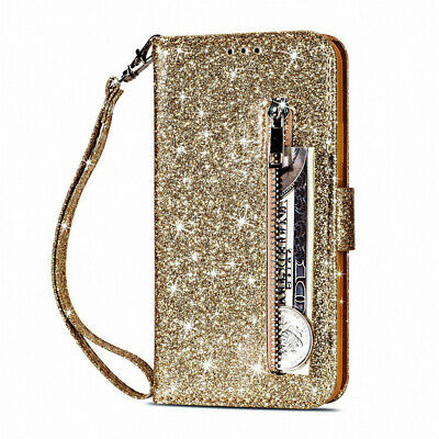 Glitter Bling Leather Zipper Wallet Card Case Cover for iPhone 6 6S 7 8 Plus X