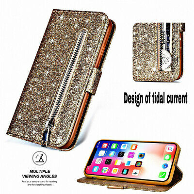Glitter Bling Leather Zipper Wallet Card Case Cover for iPhone X XS XR XS Max 8
