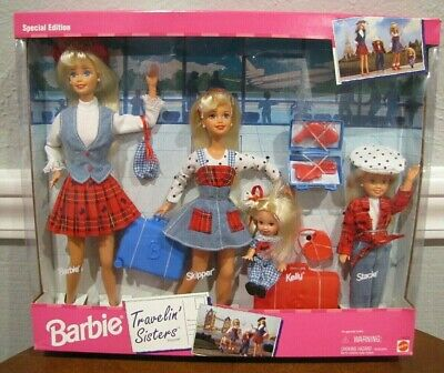 """1995 Barbie """"Travelin' Sisters Play Set - 4 Dolls Plus Accessories - New Sealed"""