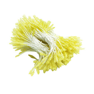 300pcs Floral Stamens Double Tip Handcraft Flower Making, Fluorescent Yellow