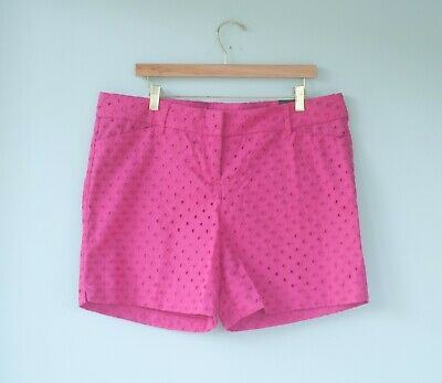 NWOT The Limited Womens Size 14 Tailored 5'' Inseam Shorts Bright Pink Eyelet
