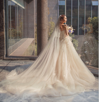 Ivory Cathedral Soft Tulle Wedding Veil one Tier Bridal Veils With Combs
