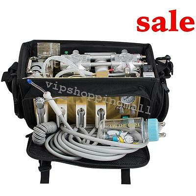 Dental turbine Unit Backpack Oilless w Air Compressor Triplex Syringe Clinic Use