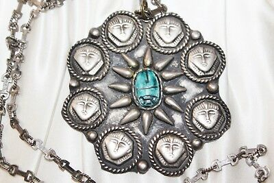 Large Vintage STERLING Silver EGYPTIAN Faience SCARAB Dial Pendant NECKLACE 23""