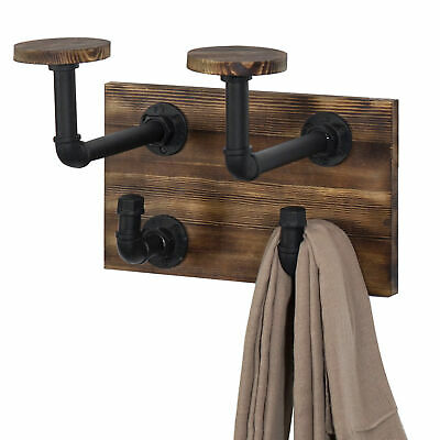 MyGift Industrial Pipe and Rustic Wood Wall-Mounted Hat & Coat Rack