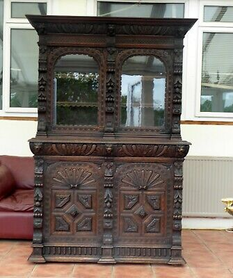 Country Oak Heavily Carved 4 Door Bookcase Free Shipping To England
