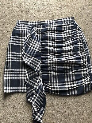 a57fa775 ZARA NAVY & White Gingham Culottes Loose Trousers Size M UK 10 BNWT ...