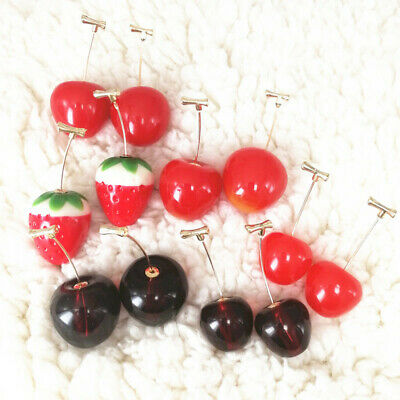 Women Girls Lovely Cherry Fruit Pendant Drop Ear Hook Stud Earrings Jewelry