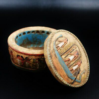 Very Rare Antique Medium Size BOX with Led of Ancient Egyptian...GREAT DETAILS