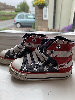 572fbf2f53 Baby Boys Converse All Star High Tops In American Flag Print, Size 5 Infant