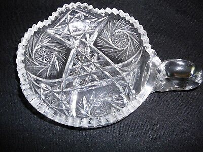 ABP Candy Dish With Handle Cut Glass Lead Crystal Pinwheel Starburst  Vintage