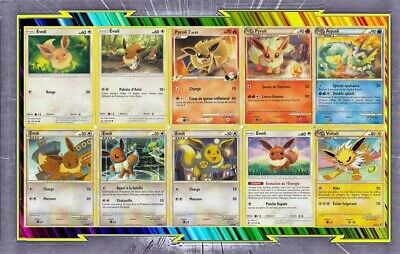 Pack of 10 Cards Eevee and Evolutions Different French - New - Pokemon