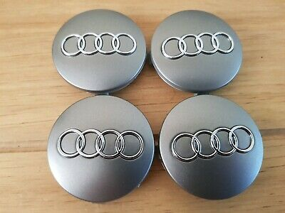 AUDI 60mm ALLOY WHEEL CENTRE HUB CAPS GREY