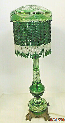 Vintage Art Deco Bohemian Beaded Glass Lamp Emerald cut to Clear