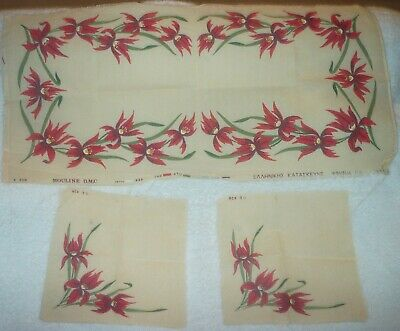 RED LILIES TABLE RUNNER PRINTED TAPESTRY CANVAS WITH 2 DOILIES (98X45 cm)