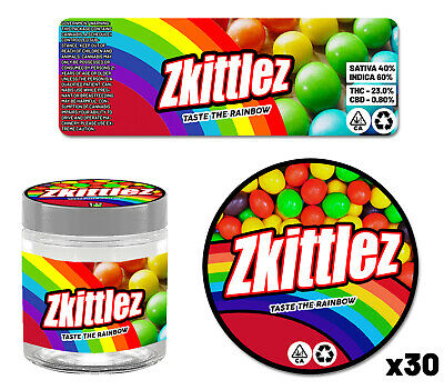 30x Zkittlez Cookies Glass Jar 60ml Cali Labels Tin Can Stickers Self Seal Tuna