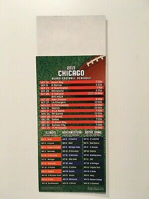 Nfl 2019 Chicago Bears Magnet Schedule / Also Illinois, Northwestern, Norte Dame