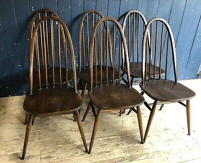 6 Ercol Quaker Mid Century Dinning Kitchen Elm Chairs Retro Vintage DELIVERY*