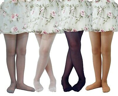 Girls Plain Tights 20 Denier Lycra Bridesmaid  Communion Age 6-12