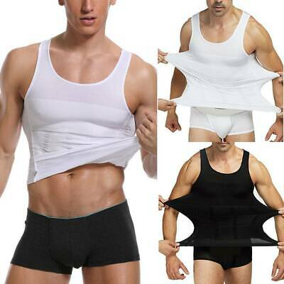 Men's Ultra Lift Body Slimming Tummy Shaper Compression Chest Belly Tank Top Hot