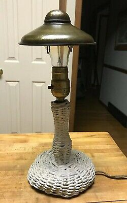 "Antique Rare White Wicker Table Lamp 14"" Cottage Porch Shade 1917 Shabby Chic"