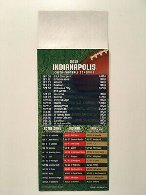 Nfl 2019 Indianapolis Colts Magnet Schedule / Notre Dame, Indiana & Purdue - New