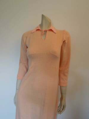 Vintage Fleecy Lined Peach Nightgown - 1940s - Bust 81 cm