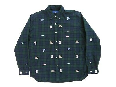 1176ffbf Ralph Lauren Polo Blackwatch Tartan Embroidered Pennant Bulldog Oxford Shirt  XL