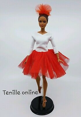 New Barbie beautiful clothes outfit red white ballerina tutu dress ballet