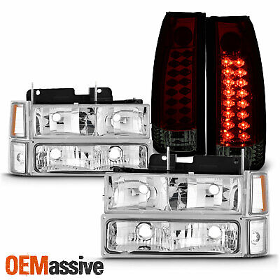 For 94-98 C/K 1500 2500 3500 Tahoe Suburban Headlights+ LED Red Smoked Tail Lamp