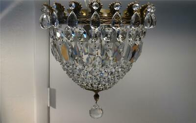 Vtg Italian Brass & Crystal Bag Basket Chandelier Ceiling Flush Mount Lamp