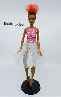 New Barbie clothes outfit pink white silver ballerina tutu dress ballet