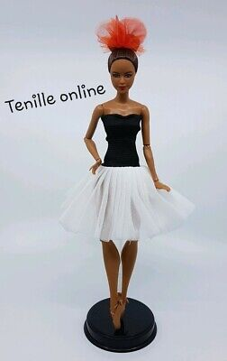 New Barbie beautiful clothes outfit black white ballerina tutu dress ballet