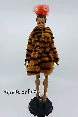 New Barbie clothes outfit jacket fur coat sweater jumper animal print curvy
