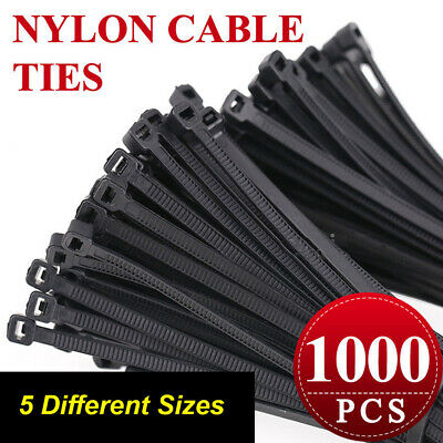 BULK 1000 x Cable Ties Black Assorted Sizes 100mm, 140mm, 200mm, 300mm