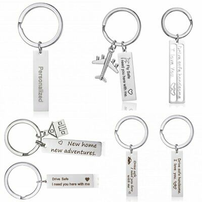 Stainless Steel Drive Safe Personalized Custom Name Date Love Keychain Key Chain