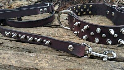 Spiked collar, leather studded dog collar and leash/lead set