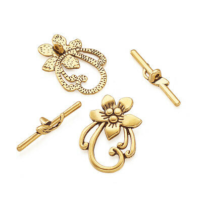 10 Set Tibetan Style Toggle Clasps DIY Bracelet Jewelry Making Antique Golden