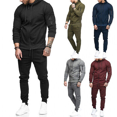 Hommes Survêtement Jogging Veste Capuche + Pantalon Sport Sweat Ensemble Costume