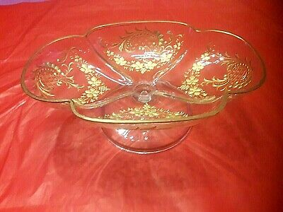 """MOSER 1910's-30's CRYSTAL-GOLD ENCRUSTED """"GRAPES&LEAVES""""- 7 1/4"""" 4 LOBED COMPOTE"""