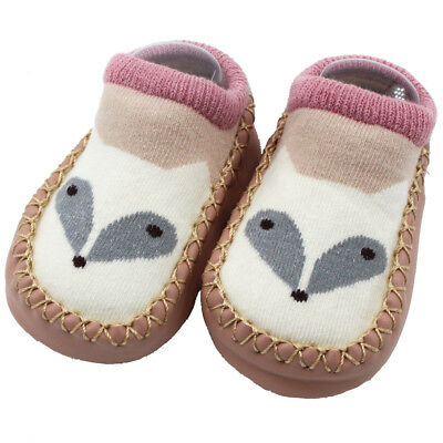 Kid Cartoon Newborn Baby Girl Boy Anti-Slip Socks Slipper Bell Shoes Boots 0-4T