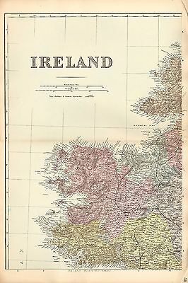 1881 Hand Coloured Map ~ Ireland Over 4 Sheets ~ Showing Railways & Stations