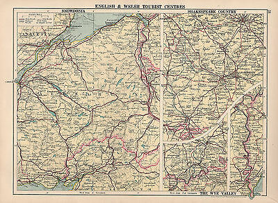 1930 Map ~ English & Welsh Tourist Centres ~ Snowdonia ~ Shakespeare County Wye