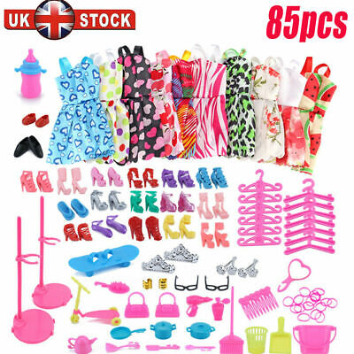 Doll Dresses, Shoes and jewellery Clothes Accessories 85pcs/Set