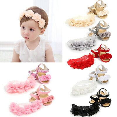 AU Newborn Kid Baby Girl Flower Sandals Summer Casual Crib Shoes First Prewalker