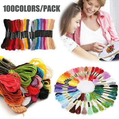 100colors/pack Cotton Floss Cross Stitch Embroidery Skein Sewing Thread TOP