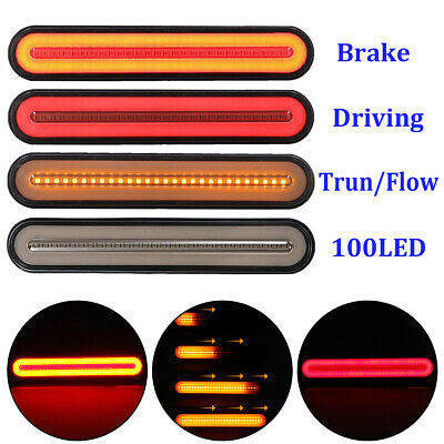 2x 100 LED Flowing Turn Signal Rear Tail Light Truck Trailer Reverse Stop Brake