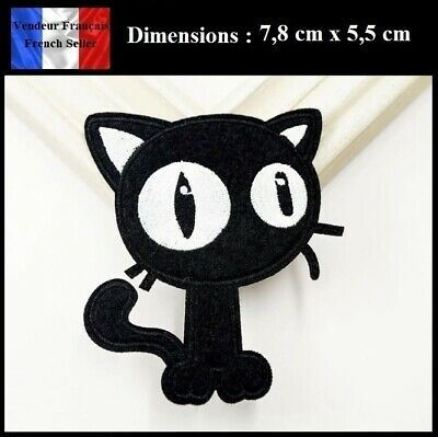 Écusson Brodé Thermocollant NEUF ( Patch Embroidered ) - Chat Noir Black Cat